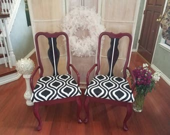 Pair (2) Vintage Early American Side Chairs - Cranberry/Black & White