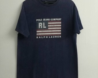 Vintage POLO JEANS Tshirt Ralph Lauren Print Flag Logo Small Size Blue Colour
