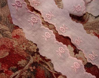 embroidered lace ruffle vintage rose 3 meters