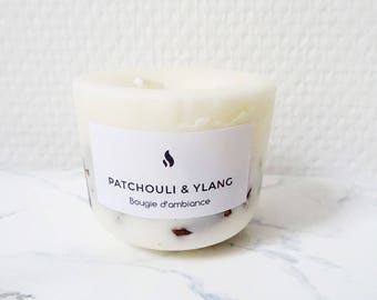 Ylang & Patchouli Scented Candle - 100% Natural Soybean Wax - Organic Essential Oil - Handmade - Organic Scented Candle