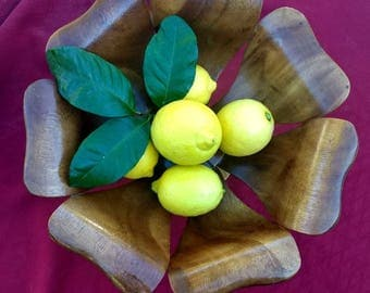 Vintage handmade wooden Bowl from the Philippines, vintage flower shaped handmade wooden Bowl