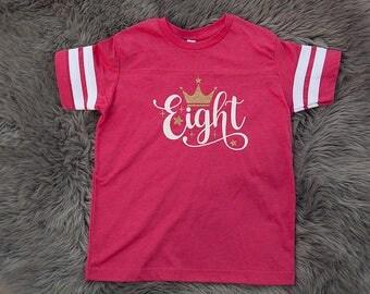 8th birthday shirt for girls, vintage football eighth birthday shirt, pink crown 8 birthday shirt
