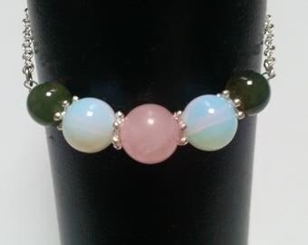 Fertility bracelet / fertility / pregnancy desire: rose quartz, Opal & Moss agate