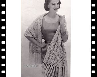 Vintage Lace Stole knitting pattern in PDF instant download version , PDF pattern