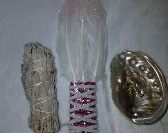 Sage Smudge Kit - Abalone shell - sparkle pink