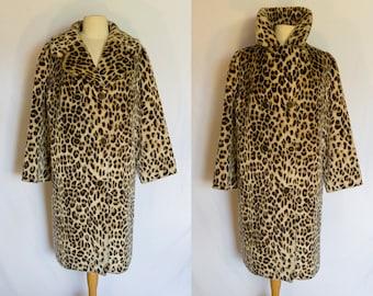 1960s Leopard Spot Leopard Print Faux Fur Coat Labelled Glenn Models Ltd London W2 and Lister Katmandu