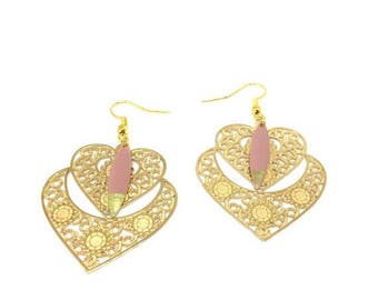 "Sequin/print ""rose/gold"" chic and trendy earrings"""