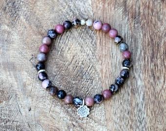 Rhodonite / Mala Bracelet / Hill Tribe Silver / Yoga Jewelry / Spiritual Jewelry / Stretch Bracelet / Healing Bracelet
