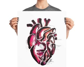 Anatomical Heart Watercolor Poster, 8x10, 16x20, 18x24, Boho Decor, Abstract Ink Print