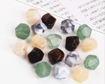 10pcs Imitation crystal jade Charm Pendants, Geometric Resin Charms for Earring/Necklace/Bracelet Diy Charms Accessories