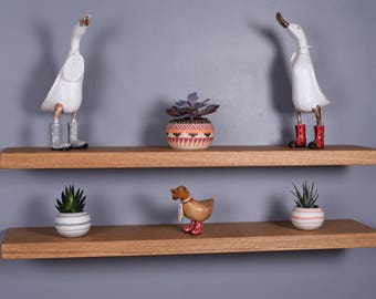 chunky solid oak floating shelves various length shelves brackets included 20cm deep
