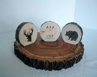 Handcrafted Deer-Bear Wood Slice Stand, Wood Slice, Log Slice, Wedding Centerpiece, Home Decor, Cabin Decor, Fall Decor, Deer Silhouette