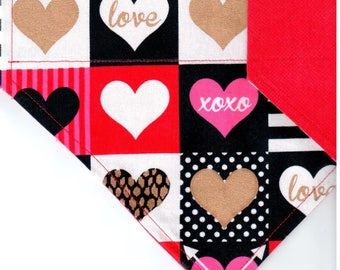 Hearts in Squares | Valentines Dog Bandana | Puppy Bandana | Pet Bandana | Over the Collar Bandana