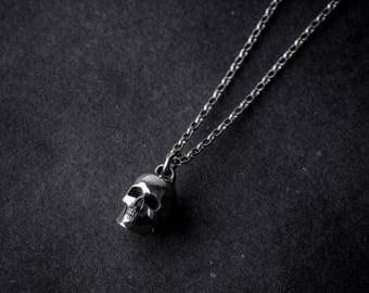 Skull Nacklace   sterling silver   silver skull   skull pendant   silver necklace   handmade skull   skull jewelry   handmade necklace   925