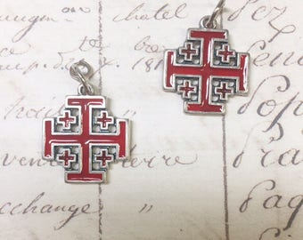 Red Jerusalem Cross charm, Cross charm, Made in Italy,18mm ,5pcs
