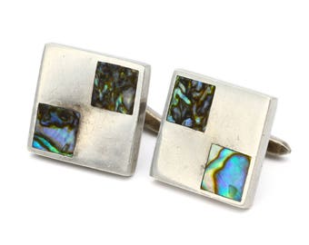 Abalone Shell Cufflinks, Romero Taxco Jewelry, Square Mens Cuff Links, 925 Sterling Silver, Antiuqe 1940s Mexican Jewelry, Nautical Jewelry