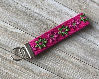 Pink and Green Flower Keychain