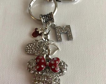Minnie Mouse Crystal Key chain With Charms