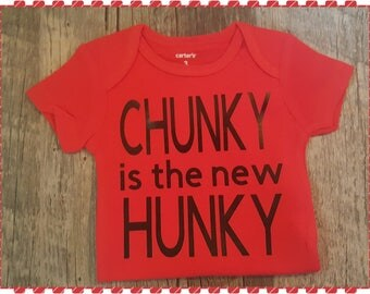 Chunky Is The New Hunky, Funny Onesie, Baby Boy Onesie, Colored Onesies, Baby Boy Clothing, Baby Shower Gift