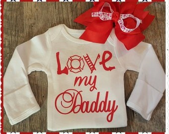 Preemie, Newborn, and Up, Love My Daddy, Fireman, Onesie or Tee - FREE BOW INCLUDED (Bows will vary - but will be very nice)