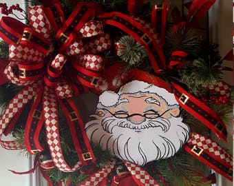 Christmas Wreath, Santa Wreath, Large Door Wreath, Christmas Front Door  Wreath, Xmas