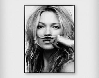 Kate Moss Moustache Print | Fashion | Black - White | Photography - Model - Poster