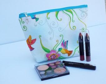 Hummingbird Make Up Bag/Travel Bag/Cord Bag/Pencil Pouch/Heart Removable Zipper Pull