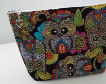 Large, Colorful Owl Make Up Bag/Travel Bag/Cord Bag/Pencil Pouch/Heart Removable Zipper Pull