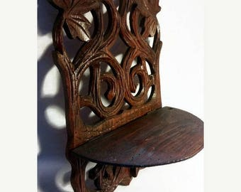 ON SALE  10% OFF French vintage wooden shelf,hand carved ,home decor,wooden shelf stand