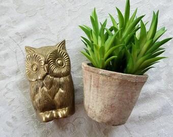 Vintage solid brass owl figurine