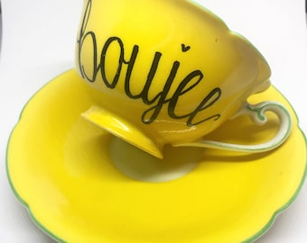 FREE SHIPPING - Cheeky China, Boujee Yellow and Floral Tea Cup & Saucer