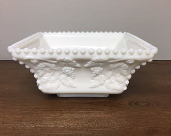 Vintage Westmoreland Paneled Grape Beaded Flared Square Bowl - Wedding