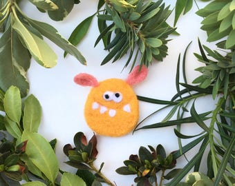 Little monster, Funny Brooch, Gift, Felted Brooch, Hand Felted Brooch, Wool Jewelry felted brooch, Wool Accessories, Orange, wool, brooch
