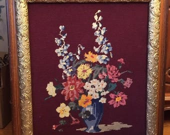 Needlepoint bouquet /Pettipoint Art/antique needlepoint