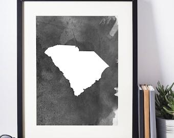 Home Decor, Wall Art, Watercolor, South Carolina Black and White Art Print, Modern Art,  Digital Download, South Carolina Wall Decor