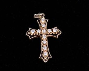 Antique 14K Yellow Gold Diamond Mourning Cross Pendant