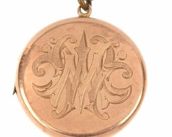 Antique 9ct Yellow Gold Circular / Round Engraved Locket