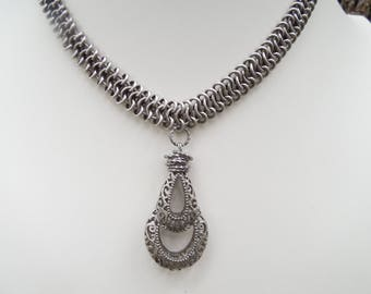 Antique Silver Chain Maille Choker With Vintage Drop