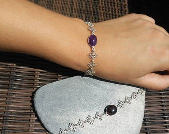 Bracelet bathed in silver with red amber or Amethyst