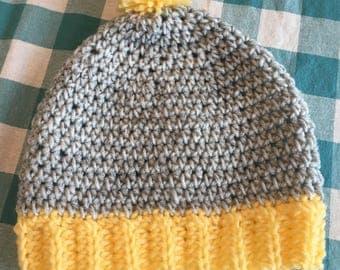 Grey and Yellow Pom-Pom Hat