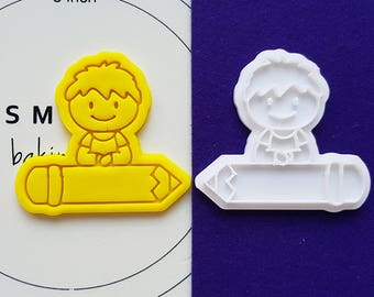 Boy on Pencil Cookie Cutter and Stamp