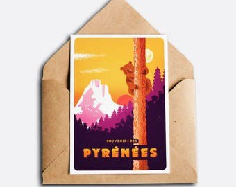 Souvenir of the Pyrenees - Vintage greeting card