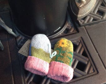 Sweater mittens, intentionally  mismatched , thumbless, 0-3 months