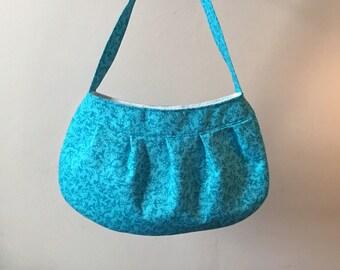 Pleated Fabric Purse, Small - buttercup bag, cotton, handbag, blue, floral