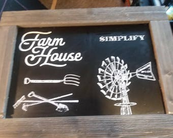 Farmhouse Chalkboard sign with Chalk Couture framed with Barnwood