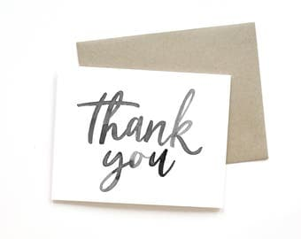 Thank You | Card || Greeting Card | Gratitude Card | Thank You Card | Sweet Card | Simple Card | Hand Lettered Card | Just Because Card
