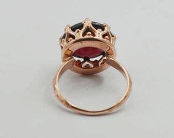 winning Rose Gold Garnet Gemstone  925 Silver Ring exporter gift