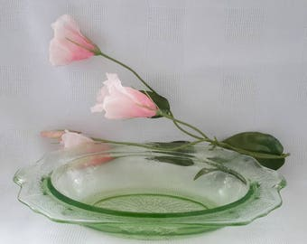 Anchor Hocking Green Depression Glass Oval Princess Serving Bowl