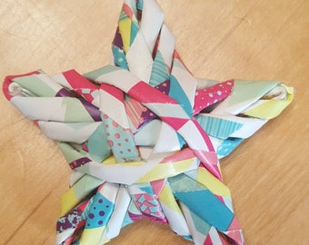 Woven star ornament - Patchwork