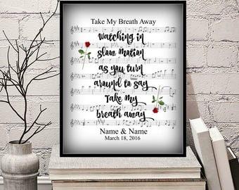 Take My Breath Away PERSONALIZED Sheet Music Art Print 8x10 Wedding Valentine's Day Anniversary Birthday Home Decor Berlin Song Title